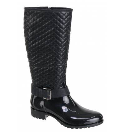 Bottes femme de pluie caoutchouc et matelassée noir HOUSTON