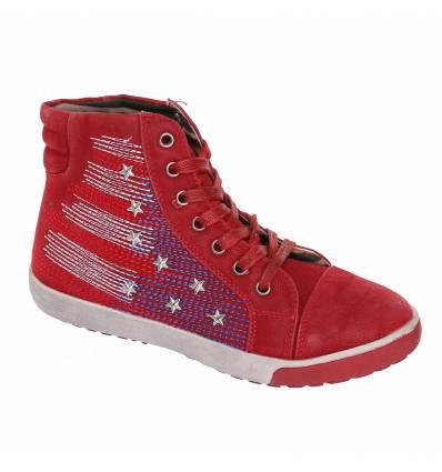 Baskets femme montantes drapeau USA rouge NANA