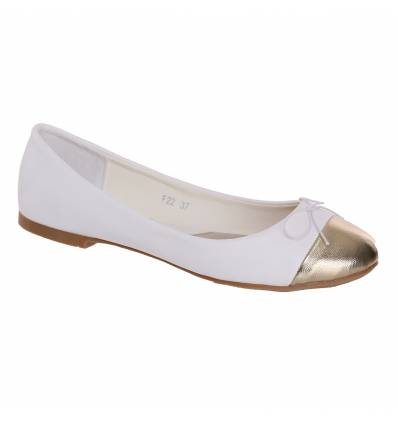Ballerines femme blanches bout doré SHANA