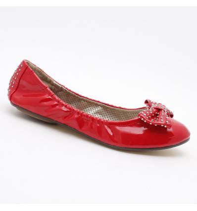 Ballerines souples simili cuir rouge LOLA