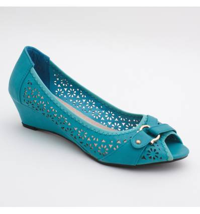 Escarpins femme compensé bleu MARTINA
