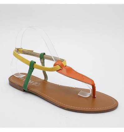 Sandales tricolore orange verni SANDRINE