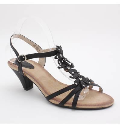 Sandales femme à strass noir Zénith