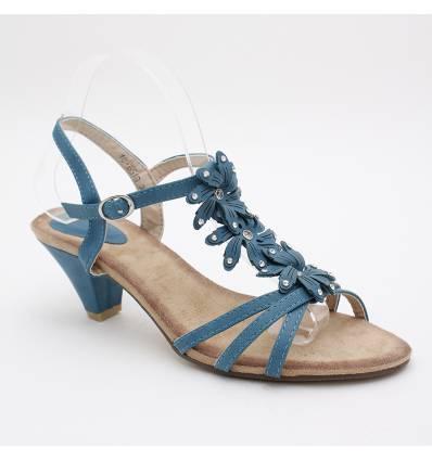 Sandales femme à brides bleu Zénith