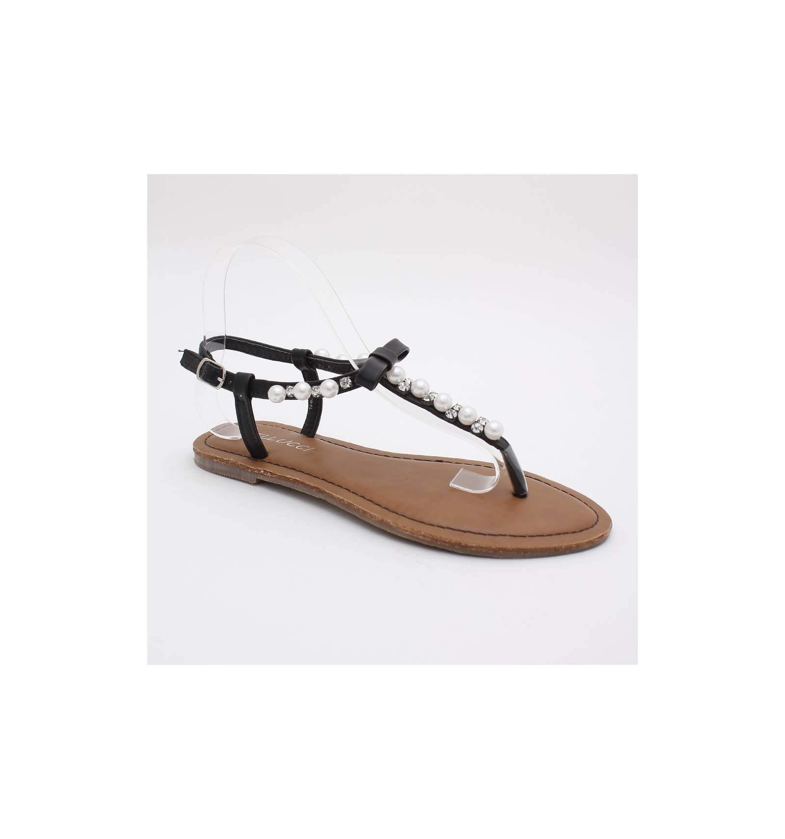 Nu-pieds à strass et perle noir LISA bdc2467a903d