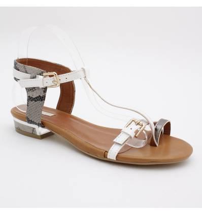 Sandale verni blanc à talon aspect métal MODE