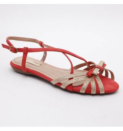 Sandales rouges femme à paillette dorée PAULINE
