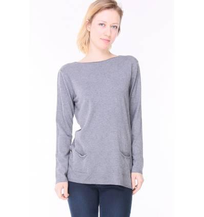 Pull en laine fine manches et poches gris Amandine