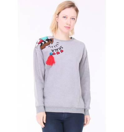Sweatshirt sport femme gris avec motif et franges