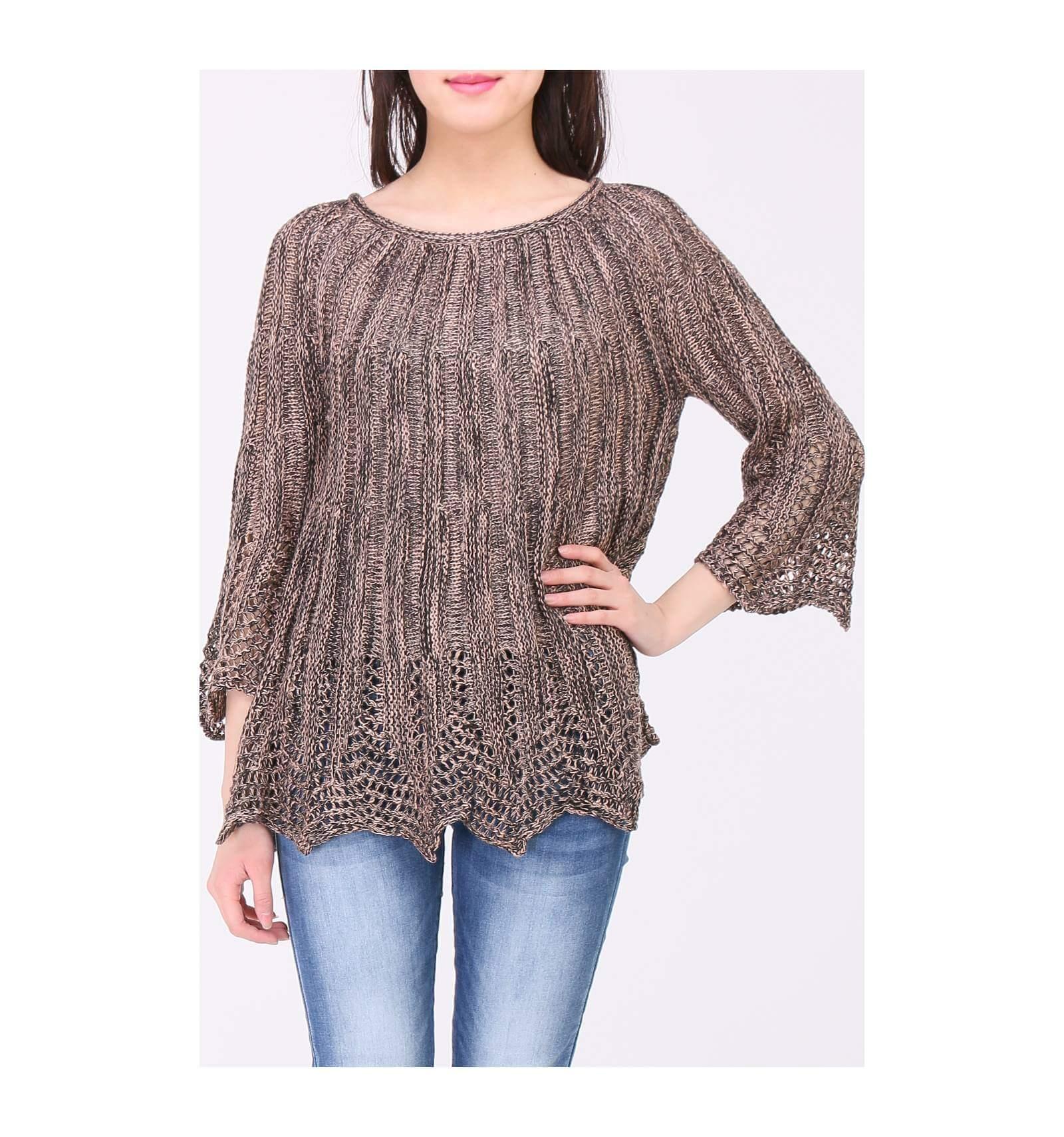 3c511509751e0 Tricot pull en laine à grandes mailles de haute qualité