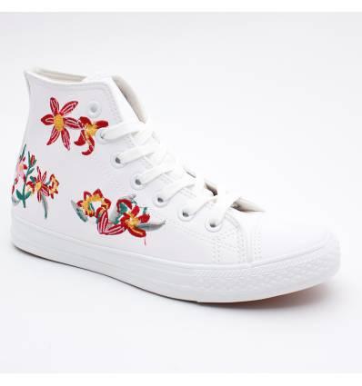 Baskets montantes blanches à fleur ELIE