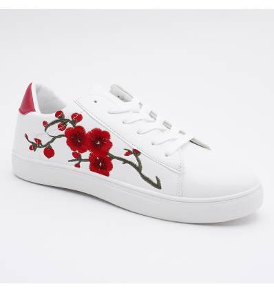 Baskets imperméables à fleur brodées blanches VIVA