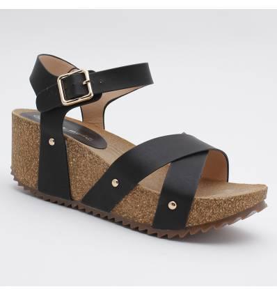 Sandale compensée à lanières noire ARMELLE