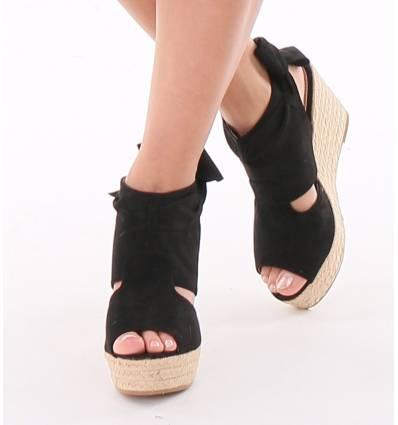 sandales femme compens e aspect raphia avec n ud noir paulina. Black Bedroom Furniture Sets. Home Design Ideas
