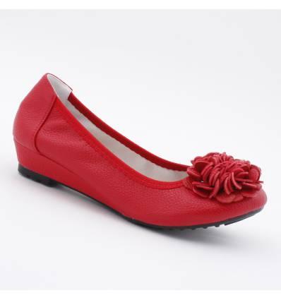 Ballerines rouges compensées à fleur chouchou Belleville