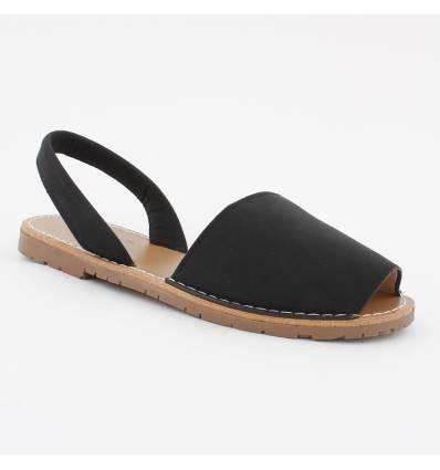 Sandales plates bout ouvert noir Minorque