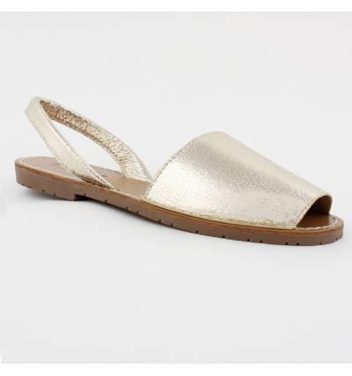 Sandales simili cuir bout ouvert doré Minorque