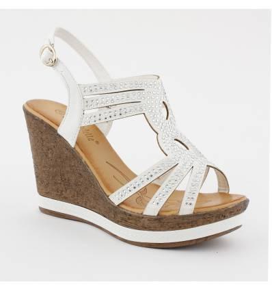 Sandales compensées effet liège à strass blanc GLAM