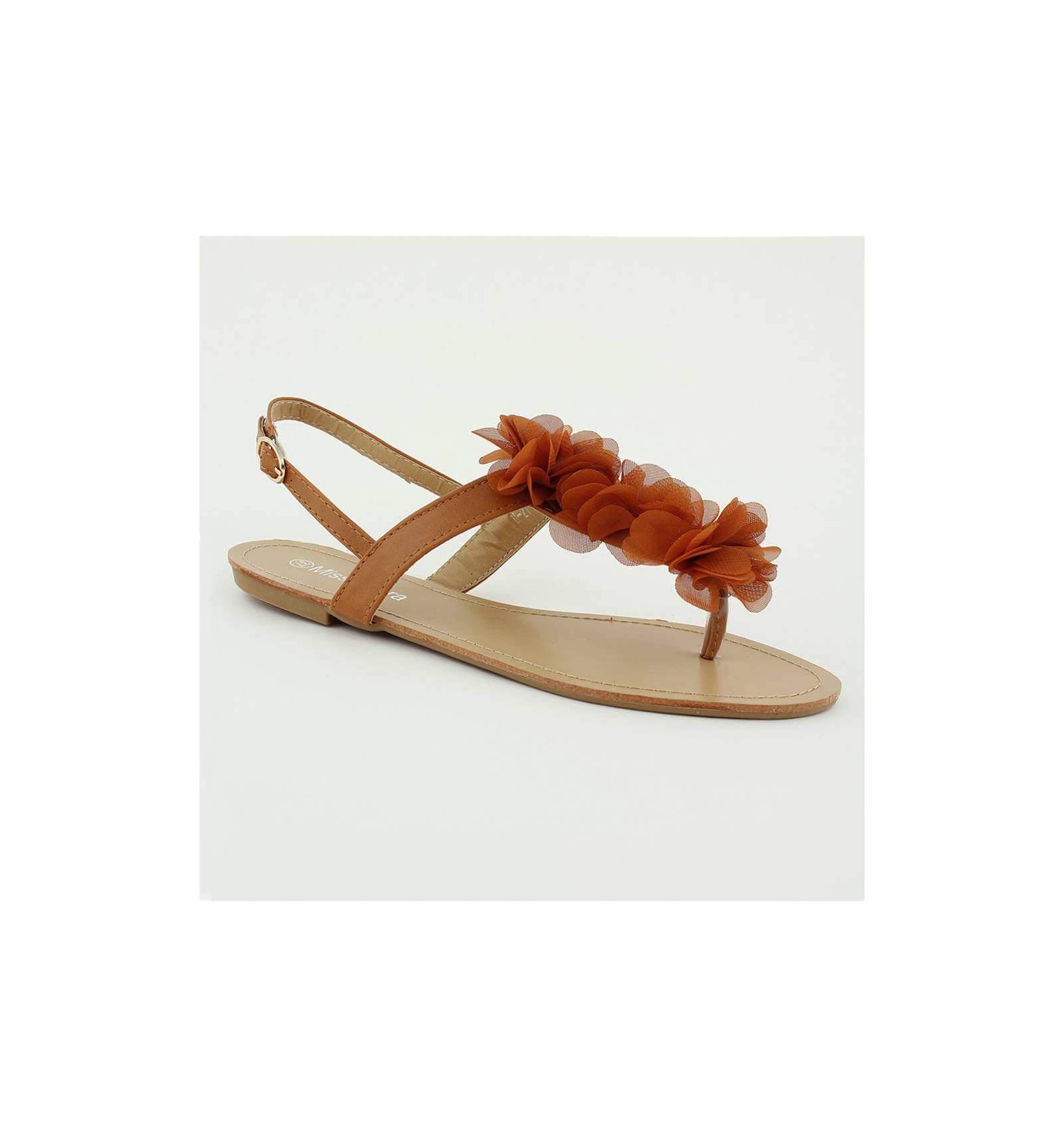 Femme Camel Fleur Modèle Simili Cuir Sandale À Malaga Couleur NwO8n0PXk
