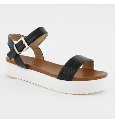 Sandales noires motif serpent talon compensé blanc Éloïse
