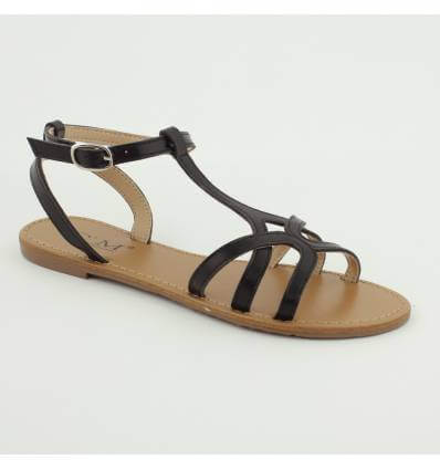 Sandales spartiates plates avec boucle verni argenté MELANIA