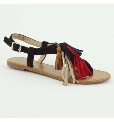 Sandales plates noires à franges multicouleurs ENORA