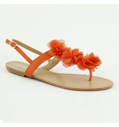 Sandales plates à fleur orange MALAGA