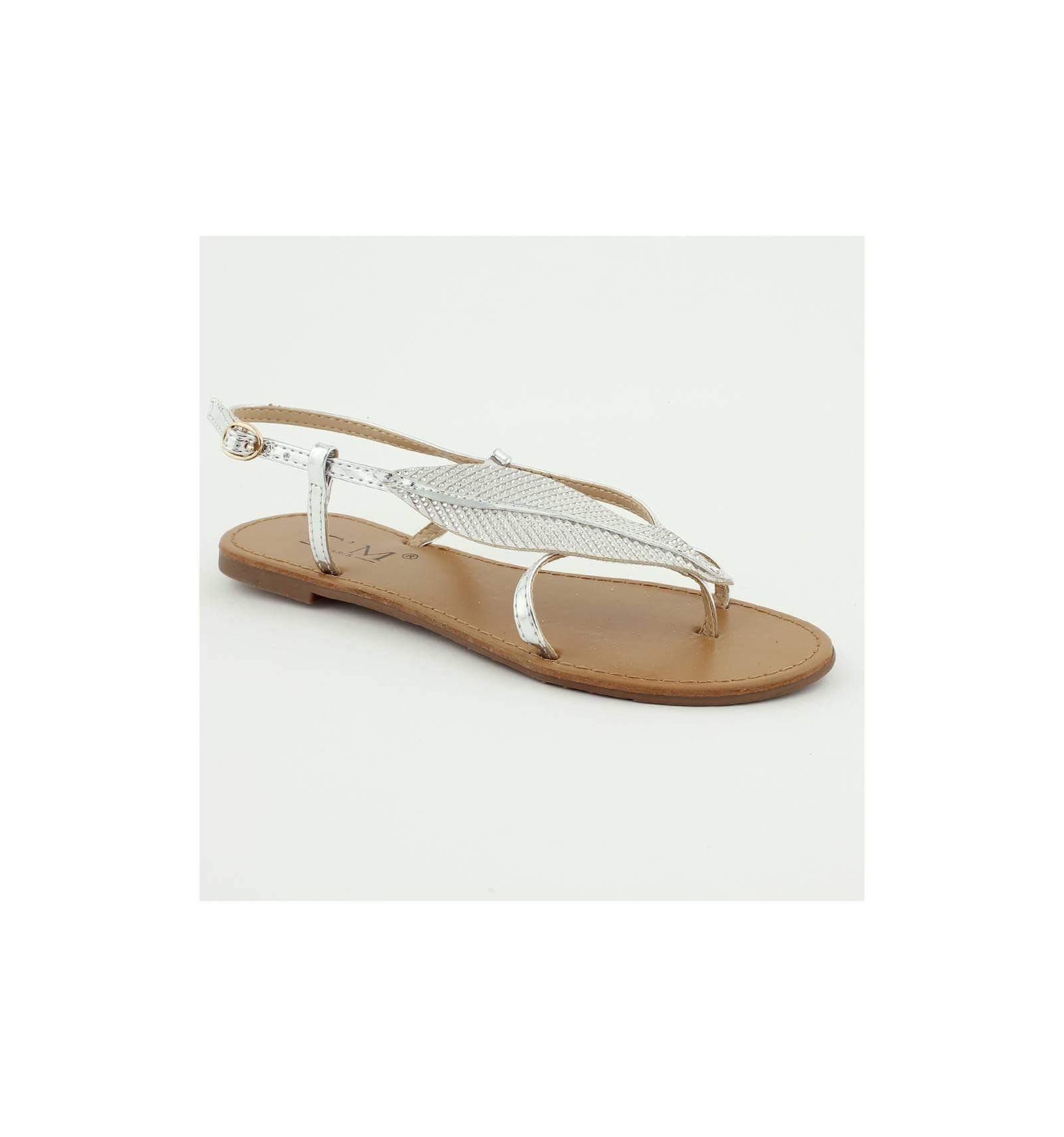 Sandale chic simili cuir plate avec feuille strassée