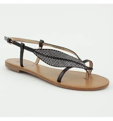 Sandales à feuille avec strass noir LAURE