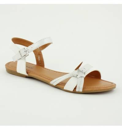 Sandales à boucle lisse et effet serpent blanc VANINA
