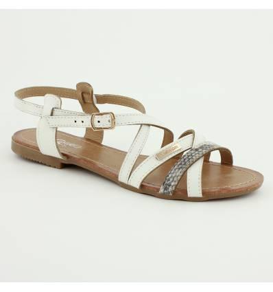 Sandales à lanières croisées blanches Nubia