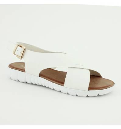 Sandales à brides croisées semelle basket blanche Marilise