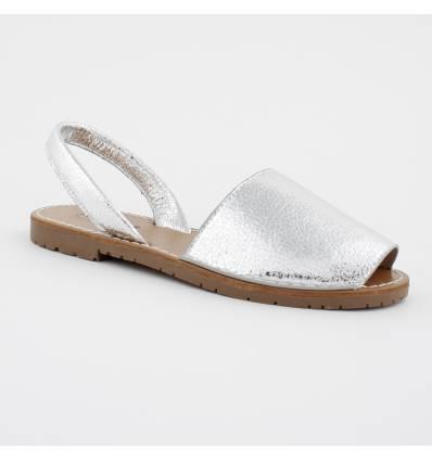 Sandales extra confortable bout ouvert argenté Minorque