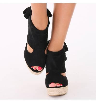 Chaussures compensées daim bout ouvert noir Dahlia