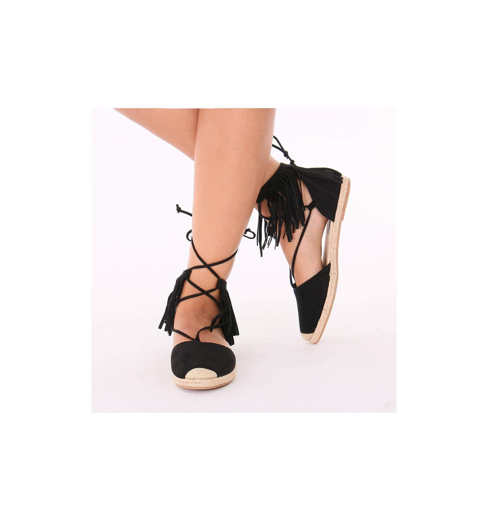 comment commander premier coup d'oeil clair et distinctif Sandales espadrilles femme avec franges et lacets daim noir ...