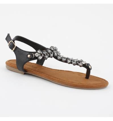 Sandales à strass de fantaisie et perles noires LIZZIE