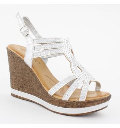 Sandales talon compensé effet liège à strass argentées GLAM