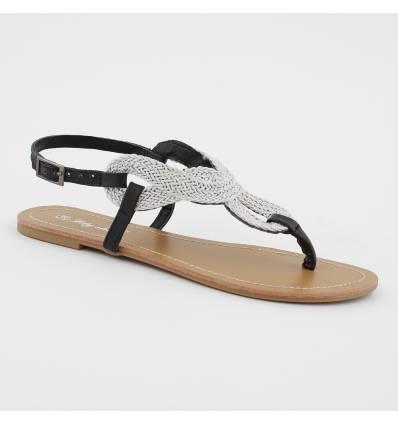 sandales plate argentées noire