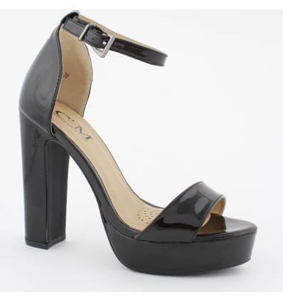 Chaussures de soirée à talon haut noir verni REGINA