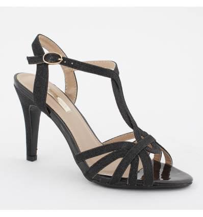 Chaussures de soirée à talon et paillette noir MERY