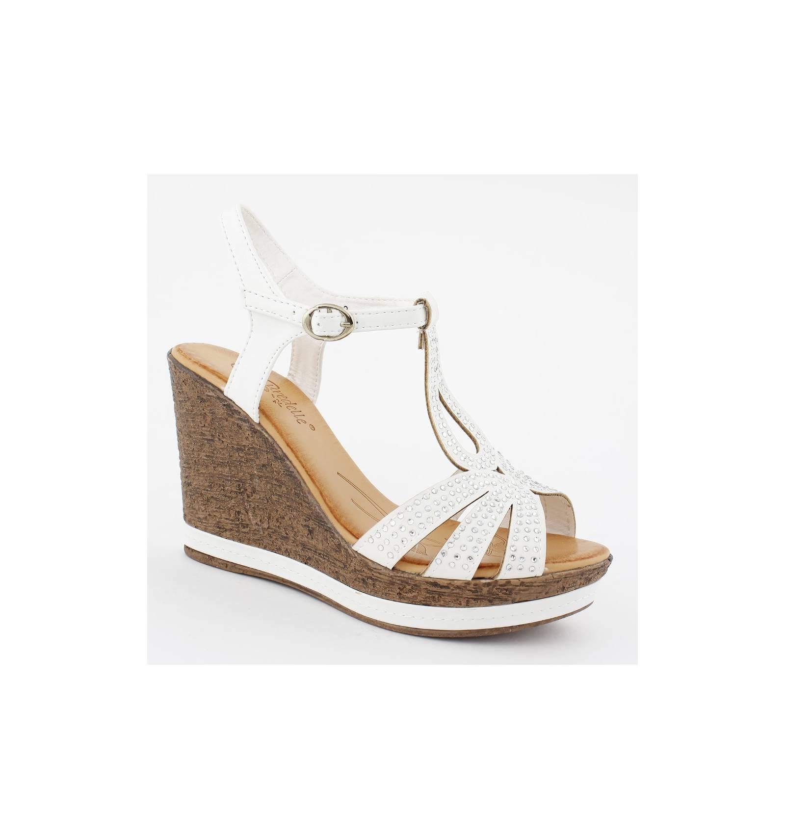 Sandales compensées femme talon liège blanc confort avec strass MARYSE fe40cd2359e3