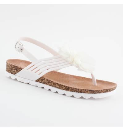 Sandales semelle liège à pétales blanches MARIELLA