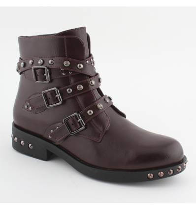 Bottines multi-brides et clous bordeaux Monna