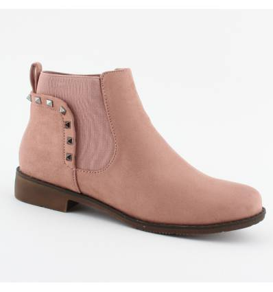 Bottines roses aspect daim avec clous Muriel