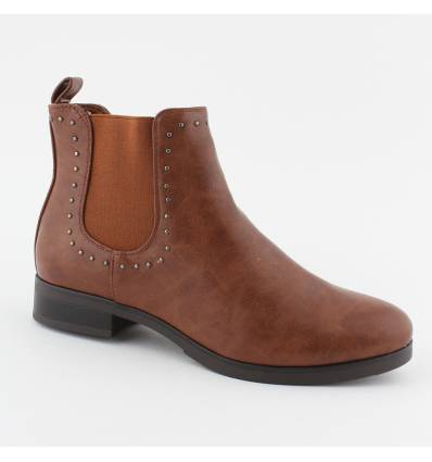 Bottines cloutées basses simili cuir camel Shea