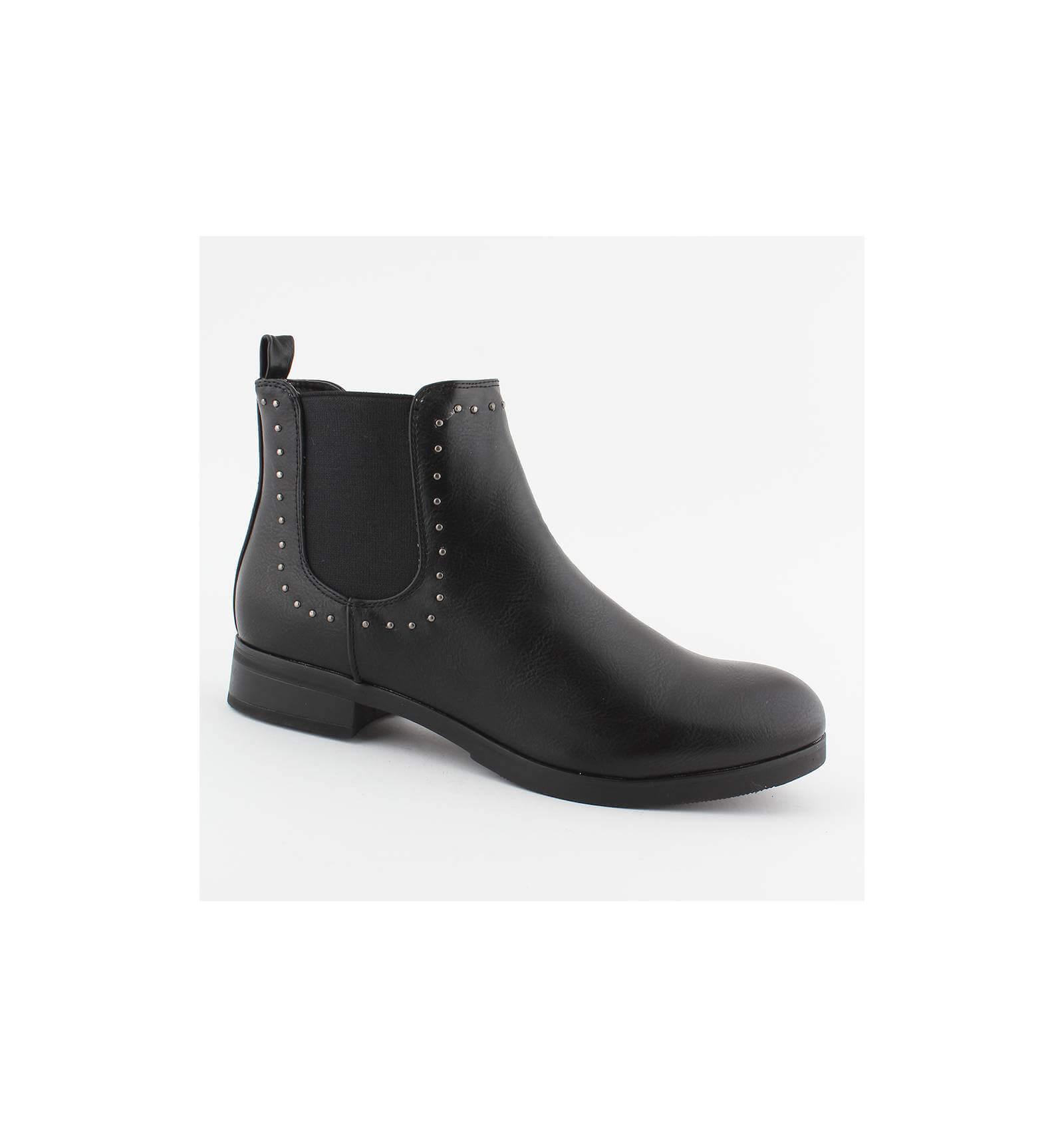 13ef312412639 Bottine simili cuir noir à clous et bande élastiquée confortable Shea