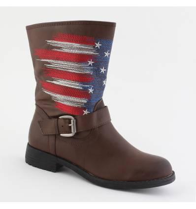 Bottes femme marron drapeau AMERICA