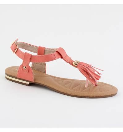Sandales femme à franges corail ALEXA