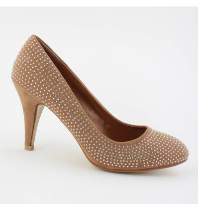 Escarpins kaki à strass RILEY