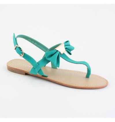 Sandales femme noeud papillon vert ENOLA